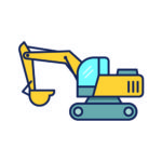 Cartoon drawing of excavator