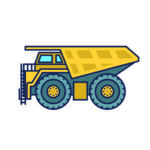 Cartoon drawing of dump truck